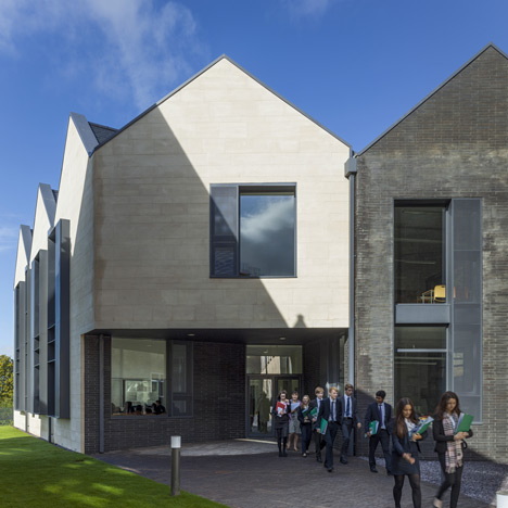 School building by Mitchell Taylor Workshop<br /> contrasts pale stone with grey brick