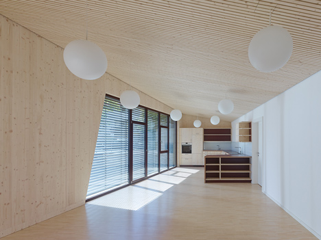 Timber clads interior and exterior of Mattes Sekiguchi's Kleinkindhaus nursery