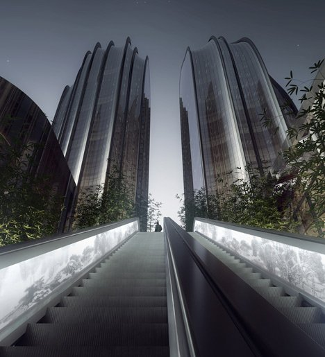 Visualisation of MAD's Chaoyang Park Plaza development