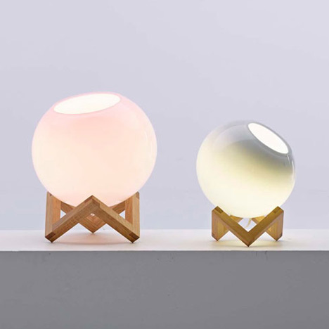 MC Escher illustrations inform stands for glass lamps by Note Design Studio