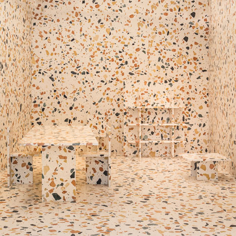 Man-made marble by Max Lamb used to create camouflaged furniture installation