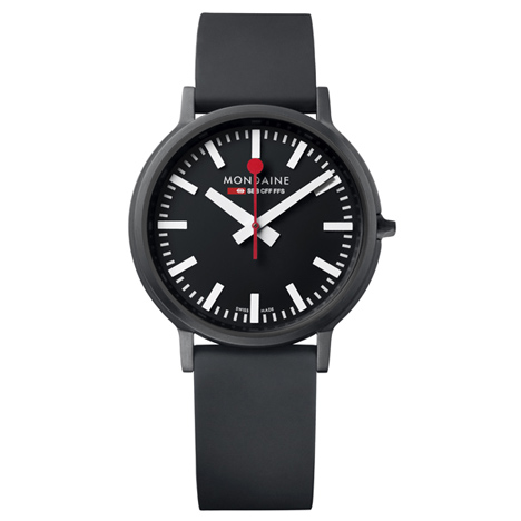 Mondaines Stop2Go watch launches in red and black at Dezeen Watch Store