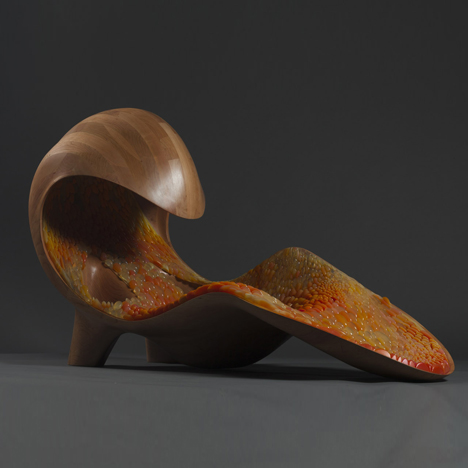 Chaise longue by Neri Oxman uses 3D printing to create a multi-coloured cocoon