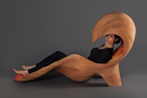 3D-printed chaise longue by Neri Oxman forms a multi-coloured cocoon