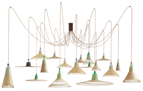 Woven plastic bottle Pet lamps by Alvaro Catalan de Ocon