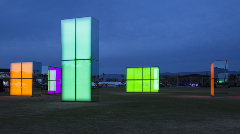 Reflection Field by Phillip K Smith III is an installation of glowing neon mirrors for Coachella