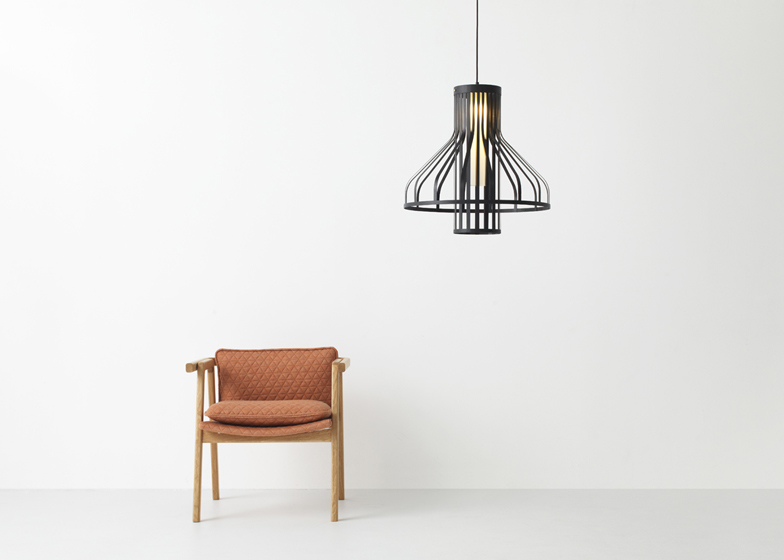 Resident Fibre Light Funnel by Jamie McLellan and Pick Up Sticks chair by Simon James