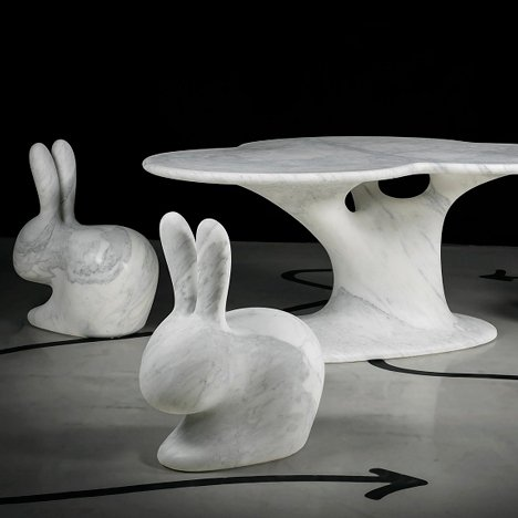 Designers carve furniture from marble blocks for Robot City exhibition