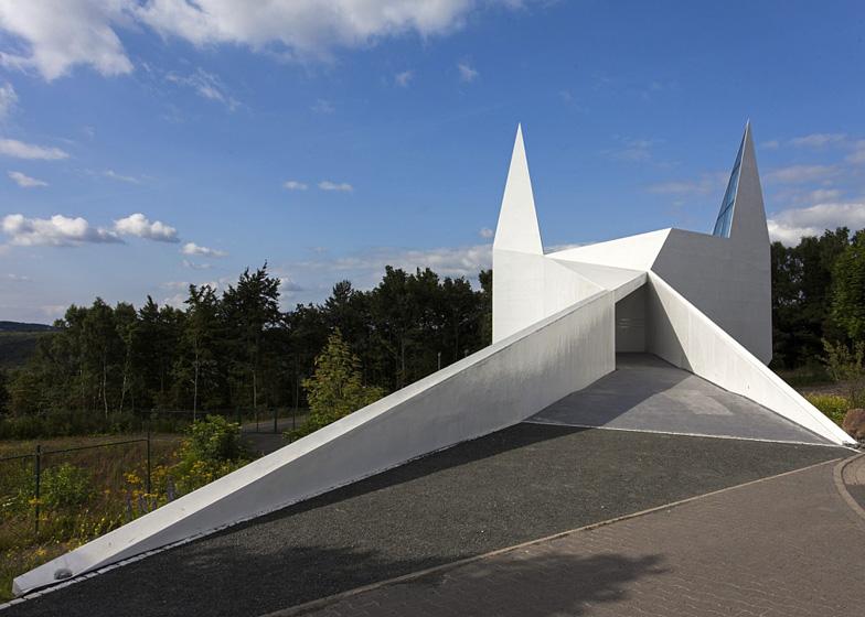 Schneider+Schumacher's church based on motorway signage looks like Batman