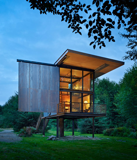 The Sol Duc Cabin has a sliding steel exterior