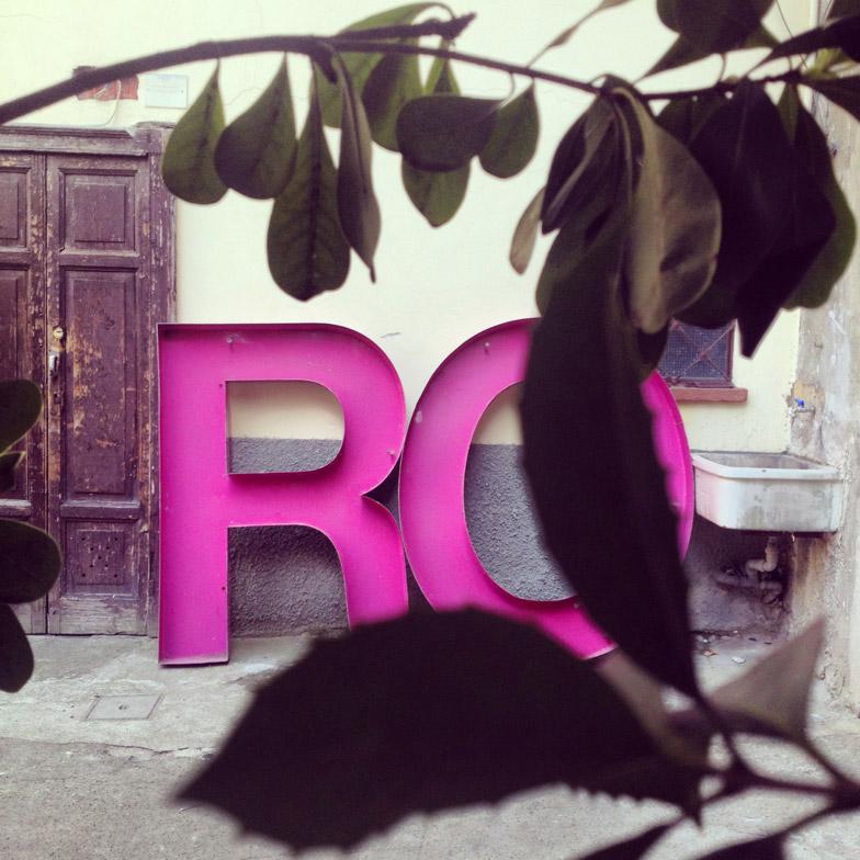 Rossana Orlandi's initials at Spazio Rossana Orlandi