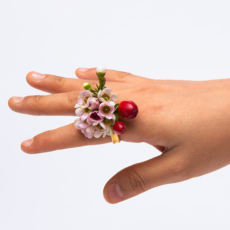 Spring rings by Gahee Kang incorporate flowers