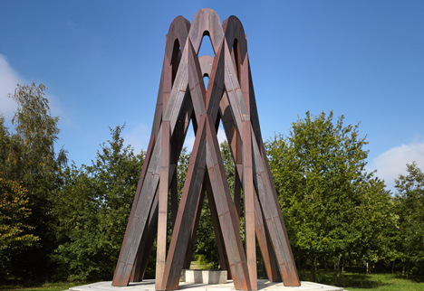 Towering copper memorial by Borheh honours philosopher Javad Nurbakhsh