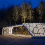 Architectural Association students build woodland shelter with a twisting lattice roof