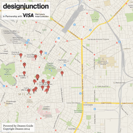 designjunction and Visa launch Milan 2014 map powered by Dezeen Guide