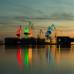 Croatian designer creates giant light show by illuminating shipyard cranes