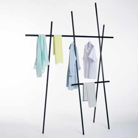 Clothes rack by Martha Schwindling looks like a bean trellis