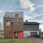 TYIN Tegnestue's lopsided house extension creates extra space upstairs