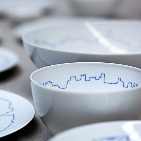 Bjarke Ingels draws city outlines<br /> around porcelain tableware