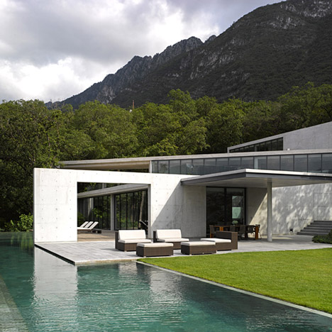 Tadao Ando's Casa Monterrey nestles<br /> against a hillside in Mexico