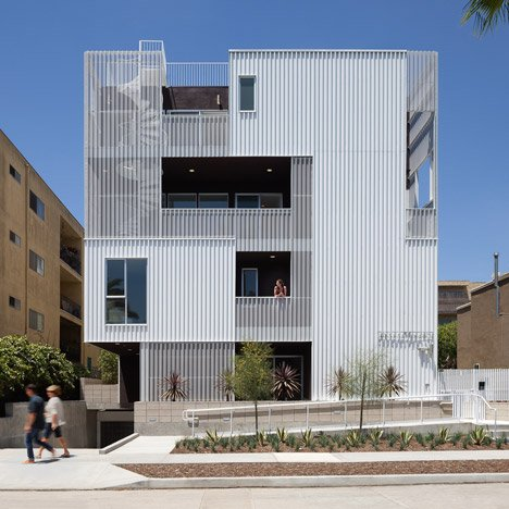 Cloverdale749 apartments by LOHA feature&ltbr /&gt balconies screened by perforated metal panels