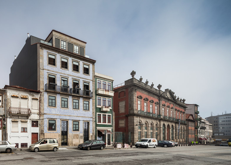 OODA completes modern apartment renovation behind tiled facade in Porto