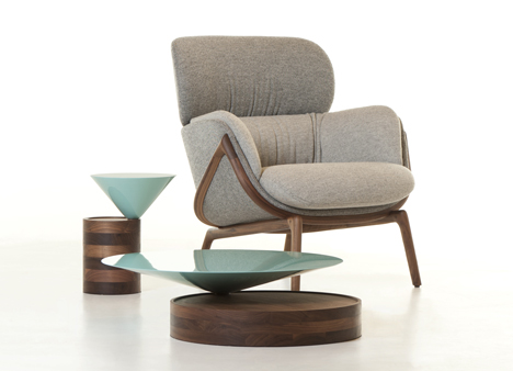 Elysia Lounge Chair and Laurel Tables by Luca Nichetto
