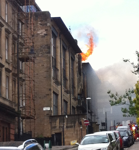Glasgow School of Art on fire