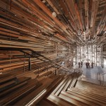 March Studio adds thousands of timber planks  to staircase of Canberra's Hotel Hotel