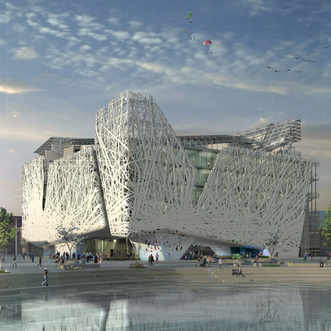 "Italy unveils permanent Milan Expo pavilion<br /> that will ""purify the atmosphere from smog"""