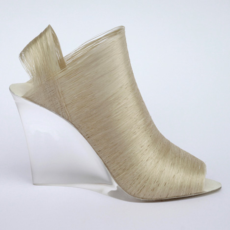 Nicole Goymann and Christoph John create shoes from deconstructed silkworm cocoons