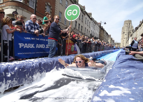 Luke Jerram transforms Bristols Park Street into 90-metre water slide