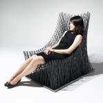 Il Hoon Roh weaves carbon fibre string into curved armchair