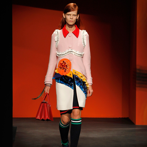 "Miuccia Prada's ""feminist"" fashion collection defies seasonal conventions"