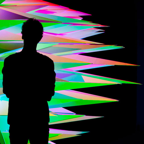 RGB lighting installation by Flynn Talbot<br /> casts multicoloured shadows
