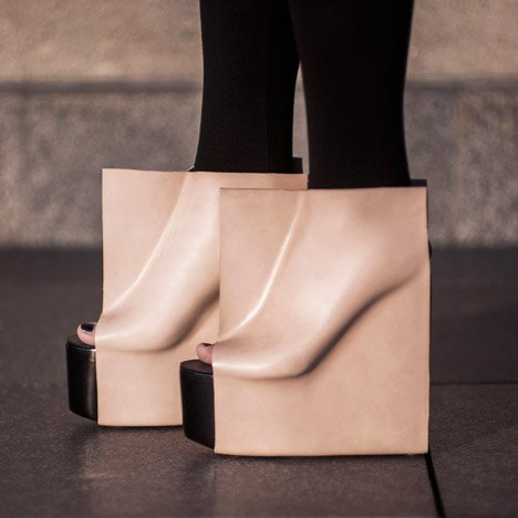 Rectangle shoes by Maria Nina Vaclavek reveal outlines of the wearer's feet