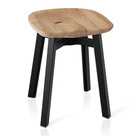 SU stool by Nendo for Emeco with a reclaimed oak seat