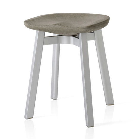 SU stool by Nendo for Emeco with eco-concrete seat and aluminium legs