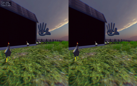 The virtual reality environment designed for chickens