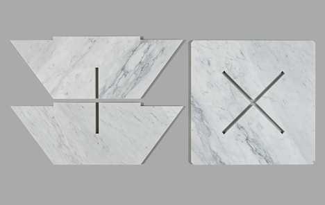 Snap Fit Marble Tables by Joe Doucet