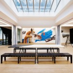 Simon Bush-King adds chipboard furniture and wall art to Superheroes' office