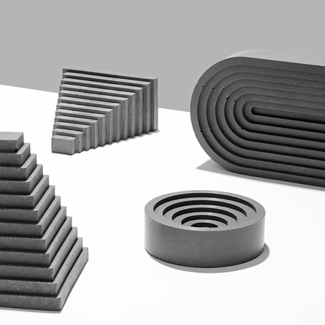 "Klemens Schillinger casts concrete accessories to resemble ""ancient architectural archetypes"""