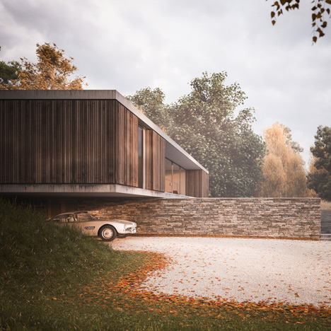 Ström Architects designs a country&ltbr /&gt house protruding over a wall