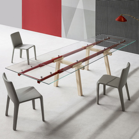 Alain Gilles' extendable Tracks Table reveals its inner workings