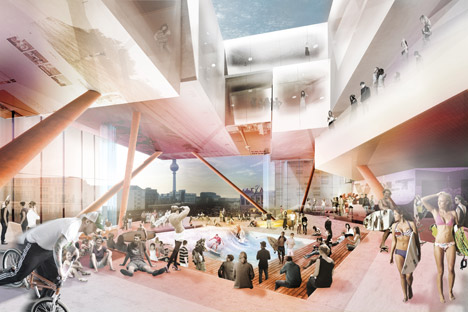 J Mayer H designs Volt Berlin shopping centre offering indoor skydiving and surfing