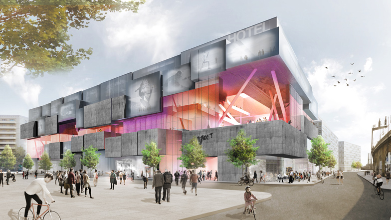 J Mayer H designs Berlin shopping centre offering indoor skydiving and surfing