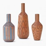 Tuomas Markunpoika mills coloured pencils to create Amalgamated vases