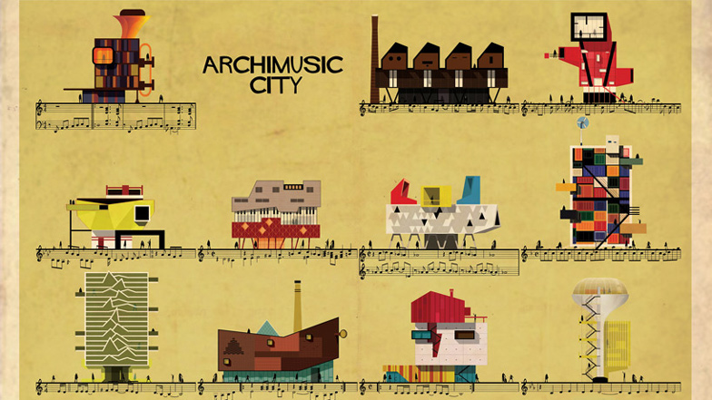 Classic songs become buildings in Federico Babina's Archimusic illustrations