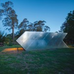 Small arrow-shaped art gallery installed in an Australian garden