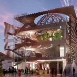 Glass globes and wavy wooden walls feature in Azerbaijan's Milan Expo pavilion